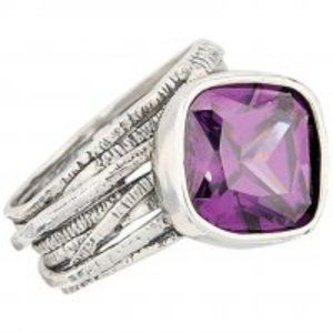 Silpada Silver Gladiator Ring Purple Zirconia, 5.5